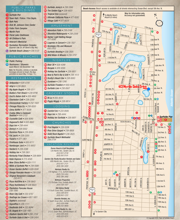 Click for larger Surfside Beach Map image size